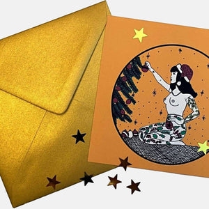 Christmas Tattooed Lady Set of 3 Postcards plus Metallic Gold Enveloppes - VintageMadbyM