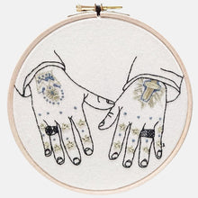 Load image into Gallery viewer, Modern Embroidery, Wall Art, Hoop Art, Tattooed Hands inspired by Mark Lanegan Hands - VintageMadbyM