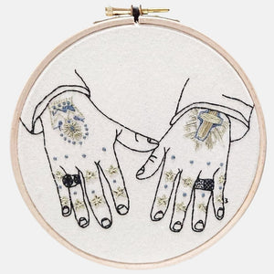 Modern Embroidery, Wall Art, Hoop Art, Tattooed Hands inspired by Mark Lanegan Hands - VintageMadbyM