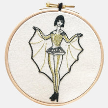 Load image into Gallery viewer, Modern Embroidery, Wall Art, Hoop Art, The Batlady, Wings of Desire - VintageMadbyM