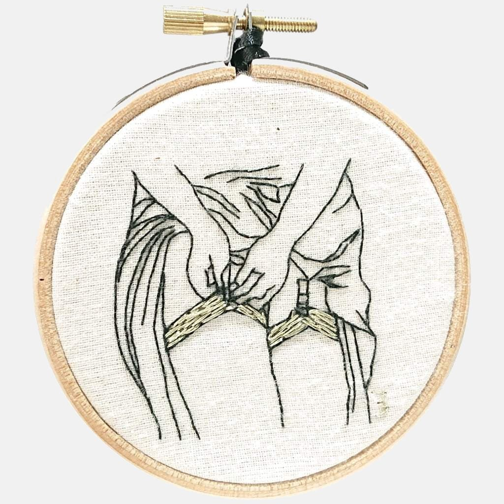 Modern Embroidery, Wall Art, Hoop Art, Watching Alice ( She pulls her stockings on) - VintageMadbyM