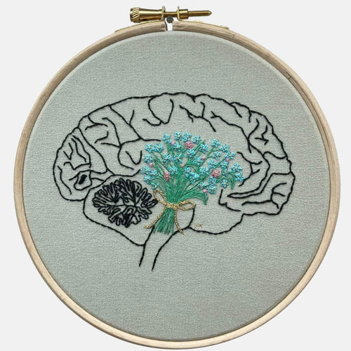 Anatomy & Botanic: Brain / Forget me not Embroidery Kit - VintageMadbyM