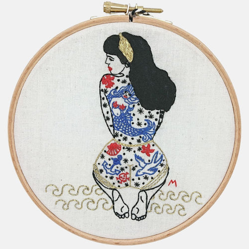 Modern Embroidery, Wall Art, Hoop Art, Summer Tattooed Lady - VintageMadbyM