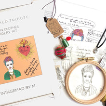 Load image into Gallery viewer, Frida Kahlo Triptych Tribute, sew on clothes Gift BOX Embroidery Kit - VintageMadbyM