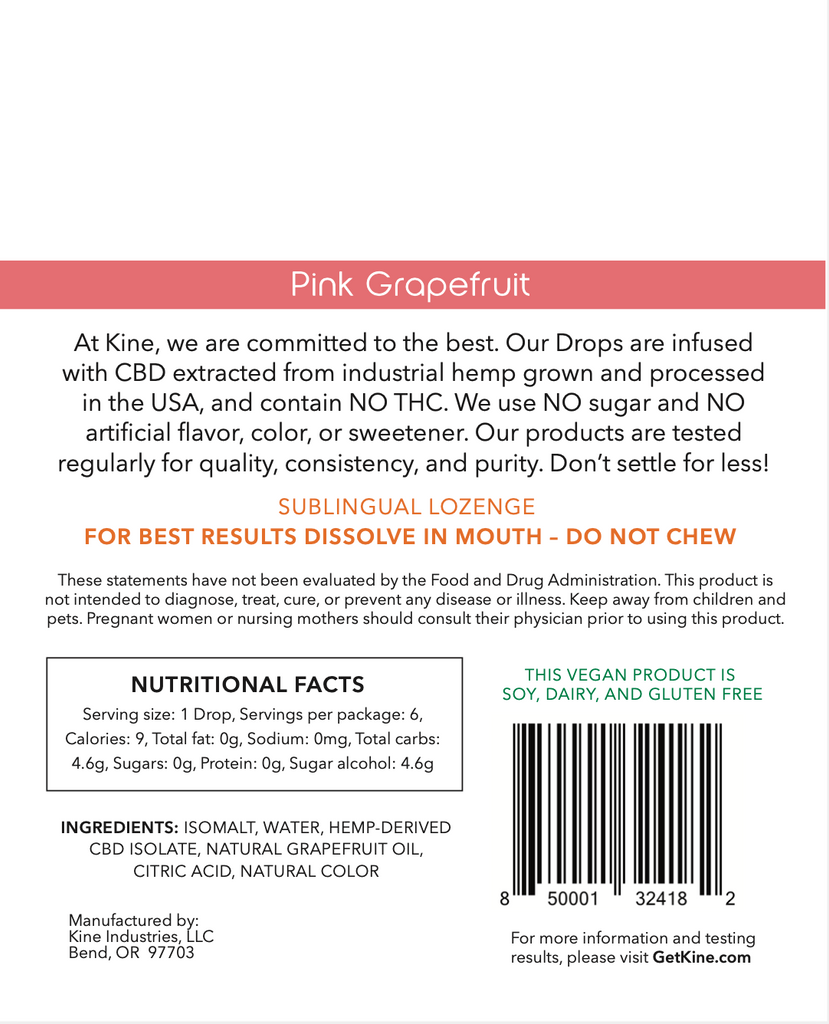 Pink Grapefruit CBD Drops - 25mg Lozenges (150mg)