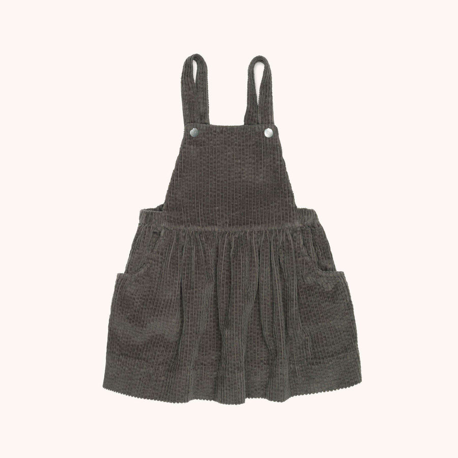 Hannah dungaree dress taupe