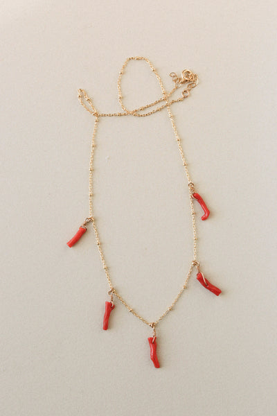 Coral Tag Necklace