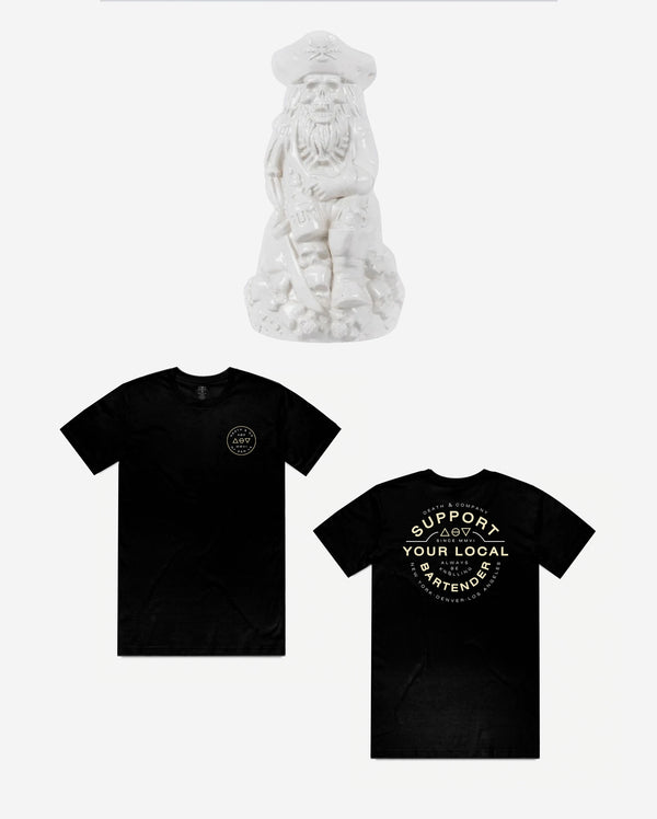 A.B.K Bartender Tee  | White Exclusive Pirate Mug Bundle