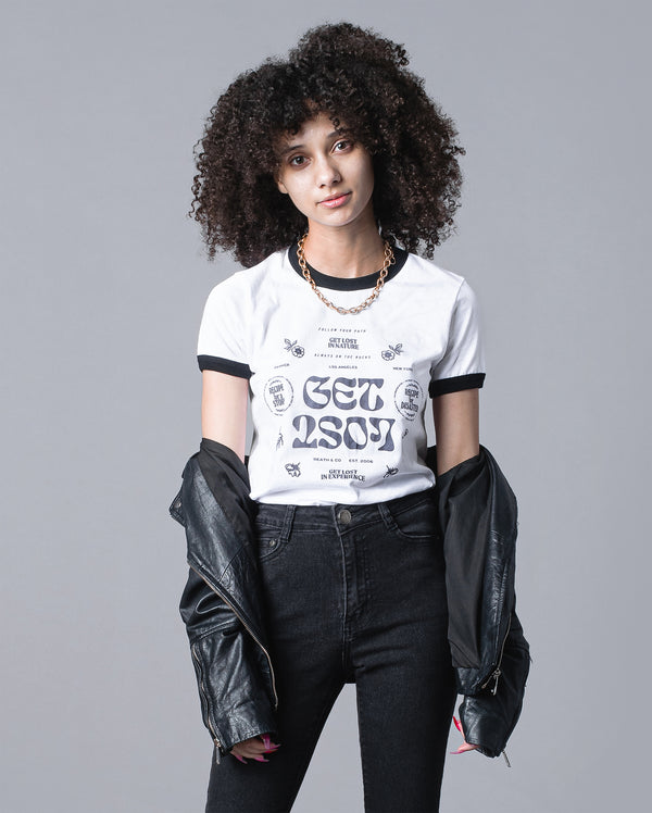 Women's Get Lost Ringer- White/Black