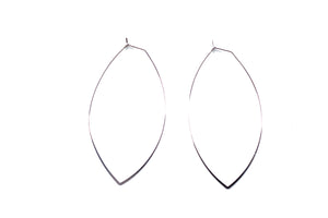 Large OVAL White Gold Hoops