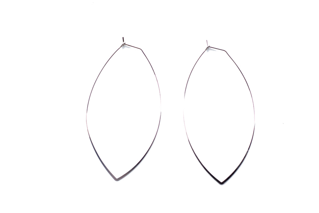 Small OVAL White Gold Hoops