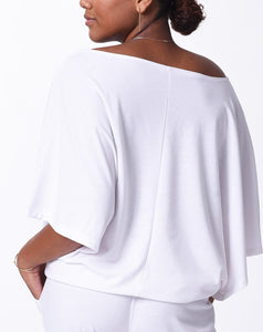 ELENA - Open Arm Top - White