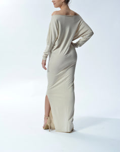 MYA - Long Fitted Dress - Taupe