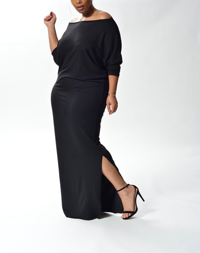 MYA - Long Fitted Dress - Black