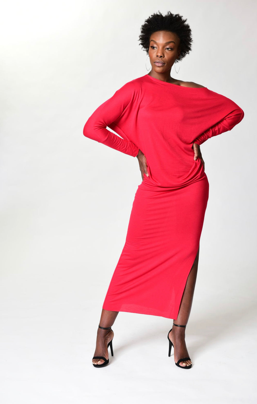 MYA - Long Fitted Dress - Red -S-016