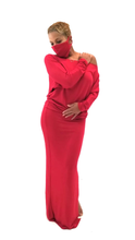 Load image into Gallery viewer, MYA - Long Fitted Dress - Red -S-016