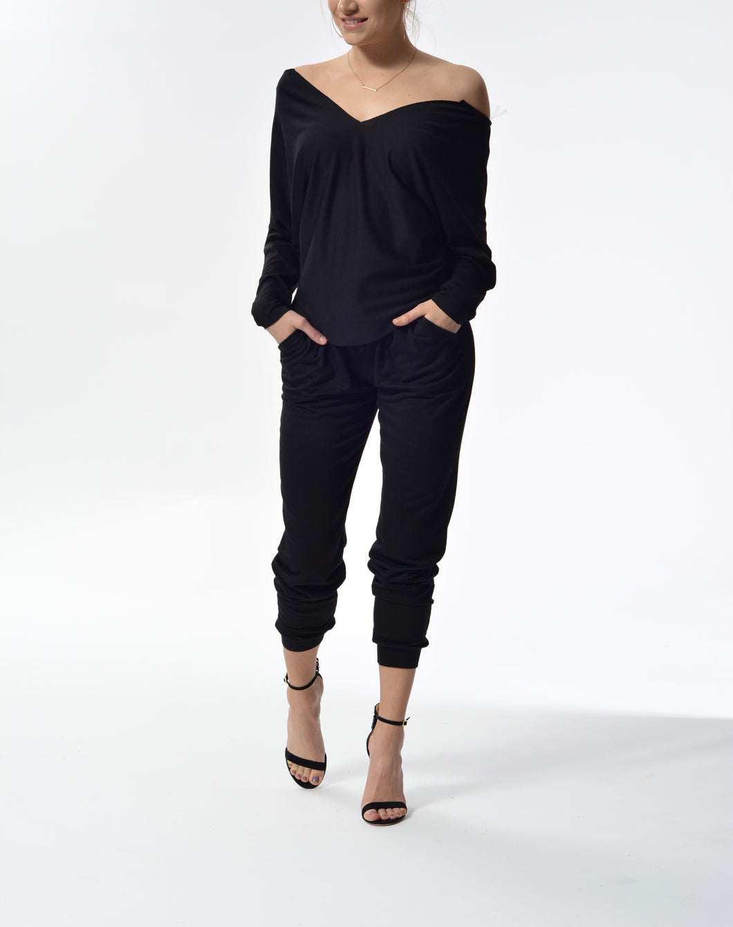 JESSICA - Drawstring Pants - Black
