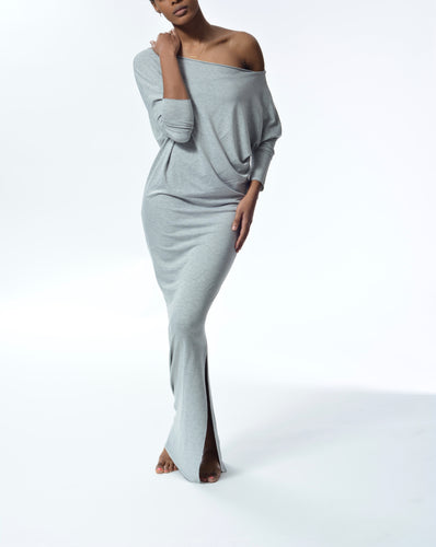MYA - Long Fitted Dress - Grey
