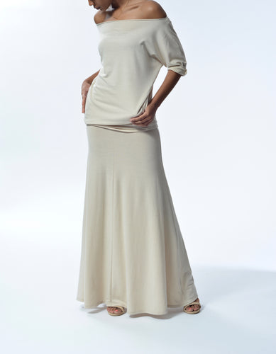 JACKIE - Long Flowy Skirt/Dress - Taupe