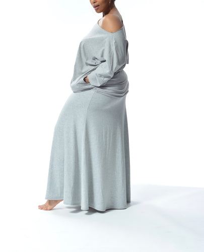 JACKIE - Long Fitted Skirt - Grey