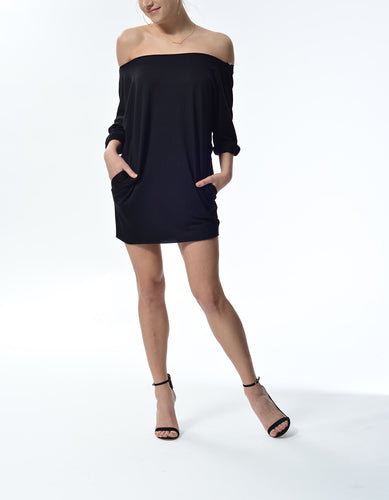 MELIA - Short Dress w/ pockets - Black