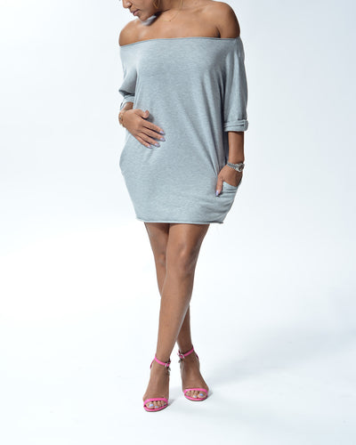 MELIA - Short Top/Dress with pockets - Grey