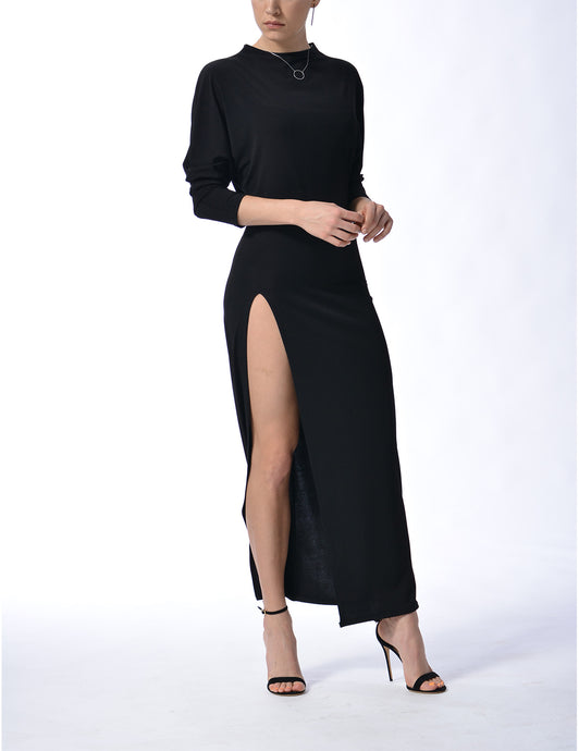MILAN - Long Slit Dress - Black
