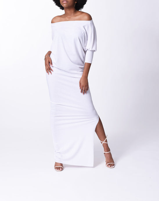 MYA - Long Fitted Dress - White -S-016