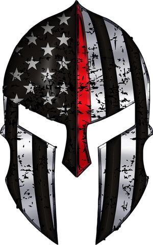 Thin Red Line Spartan Warrior Helmet Reflective Decal