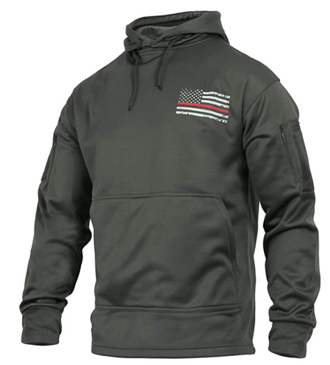 Thin Red Line USA Flag Concealed Carry Gun Metal Moisture Wicking Hoodie