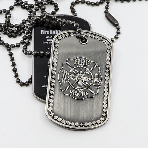 Firefighter's Prayer Fire Rescue Maltese Cross Dog Tag (Stocking Stuffer)