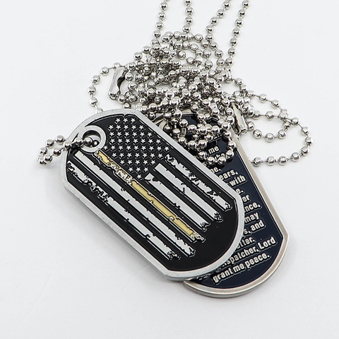Thin Gold Line Distress Flag Dispatcher Prayer Dog Tag (5 Alarm)
