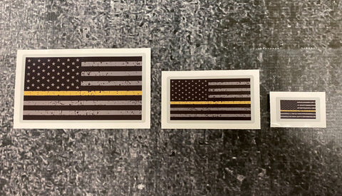 Dispatch and Communications Thin Gold Line Flag Reflective Decal