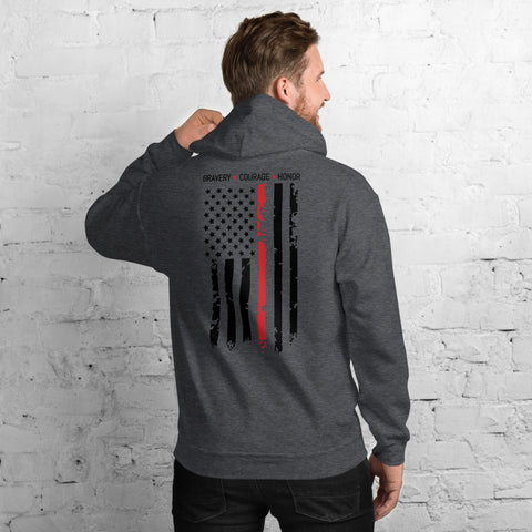 Bravery, Honor, Courage Thin Red Line Gildan Pocket Hooded Sweatshirt