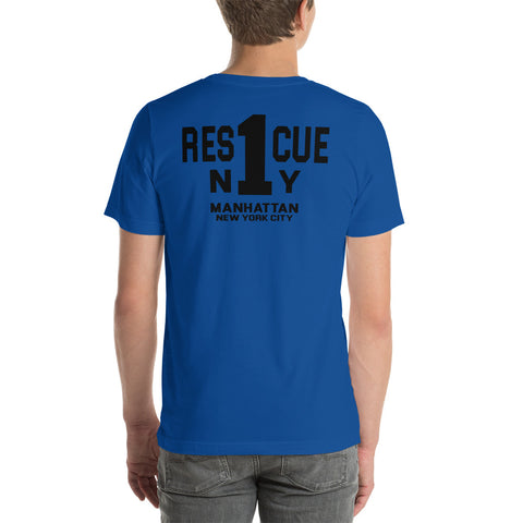 Rescue 1 Manhattan Navy Blue Firefighter Duty Shirt Short-Sleeve Bella Canvas T-Shirt