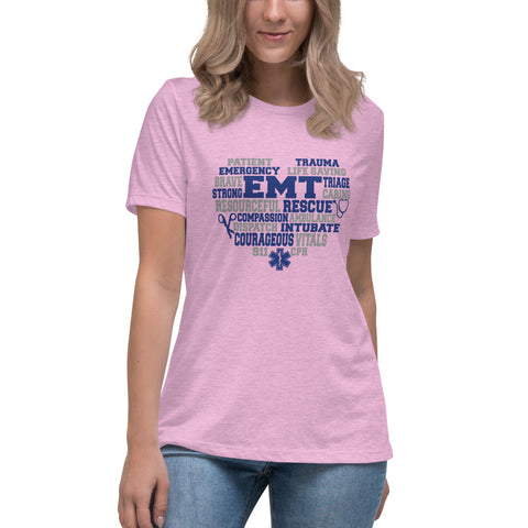 EMT Heart Courage, Life Saving, Caring  Bella Canvas Women's Relaxed T-Shirt