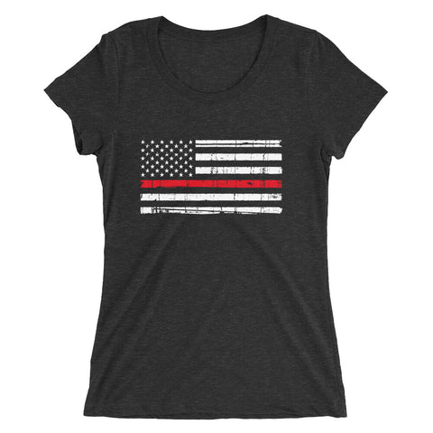 Thin Red Line USA Flag Ladies Tee