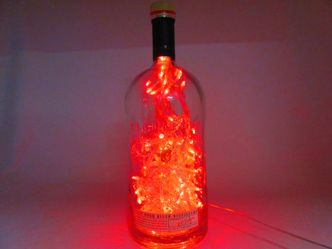 "Hot Fire Red Colored, Lighted ""Pendleton"" Large 1.75 L Whiskey Bottle"