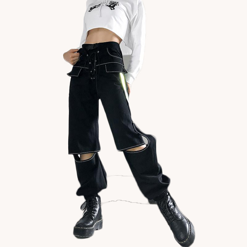 Black Lace Up Reflective Cargo Pants