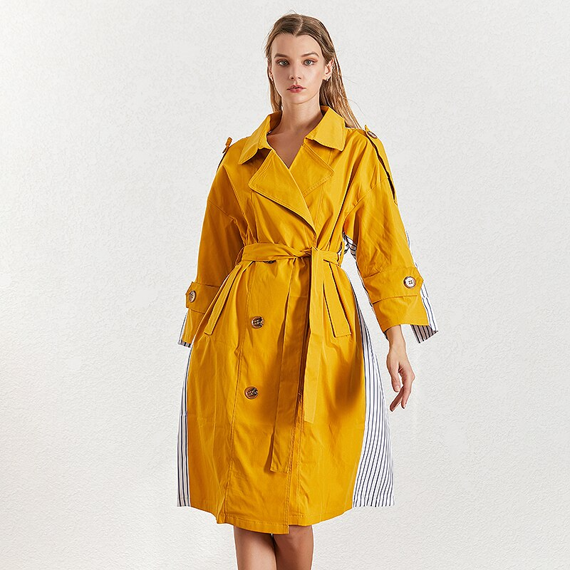 karisland Kali Striped Trench Collar Coat - karisland