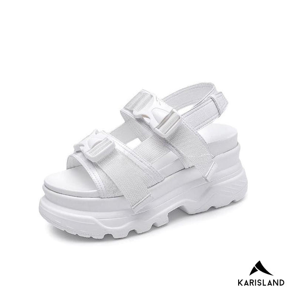 karisland WHITE / 4.5US / 35EU Think Soled Casual Sandals - karisland