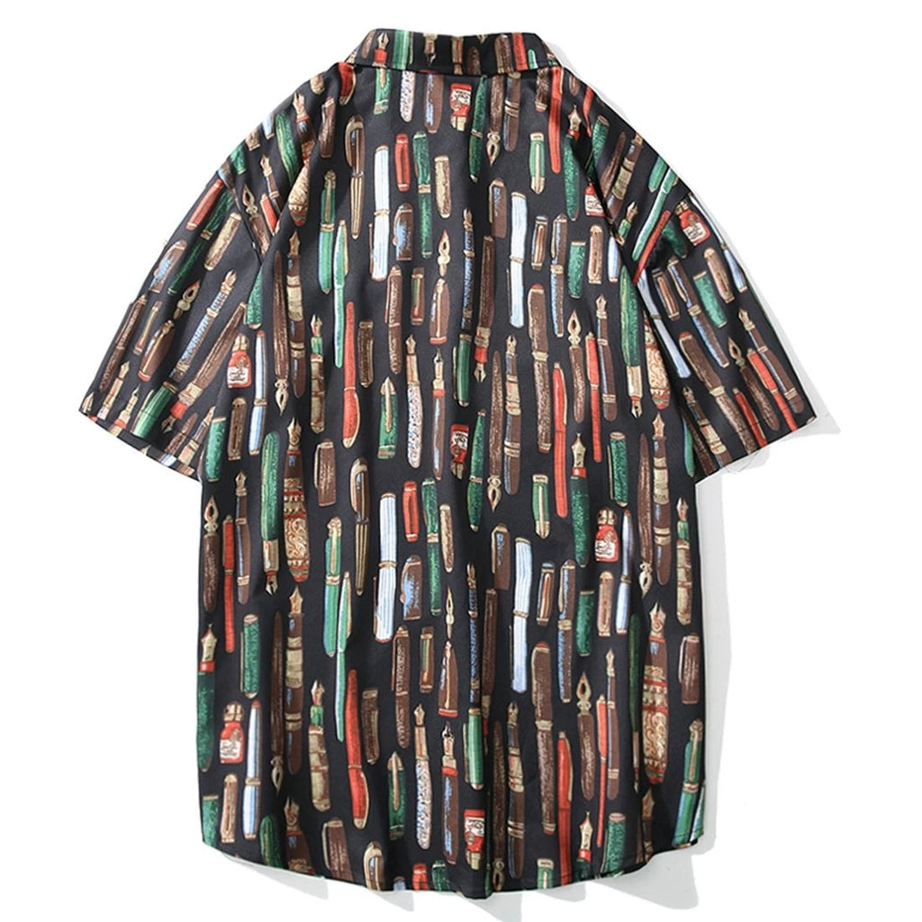 karisland Men's Short Sleeve Loose Pen Print Summer Shirts - karisland