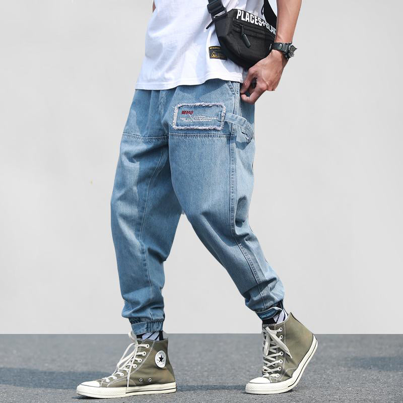 Casual Fashion Street-wear Denim Jean Hip Hop Joggers Pants