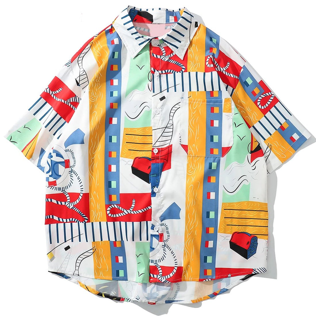 karisland Men's Short Sleeve Color Printing Hawaii Beach Shirts - karisland