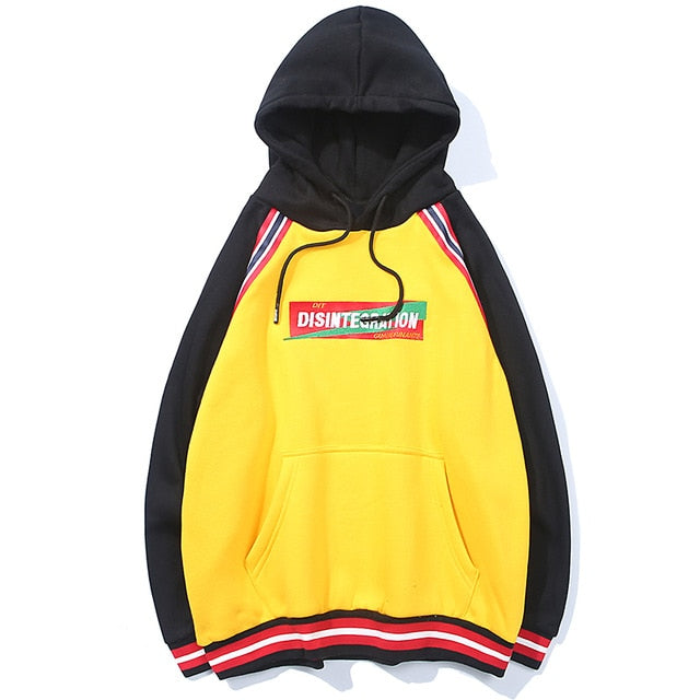 karisland Yellow / XL Embroidery Stripe Patchwork Fleece Pullover Casual Hoodies - karisland