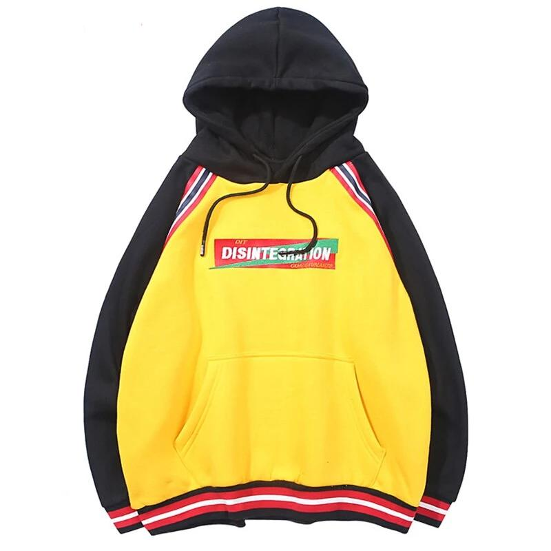 karisland Embroidery Stripe Patchwork Fleece Pullover Casual Hoodies - karisland