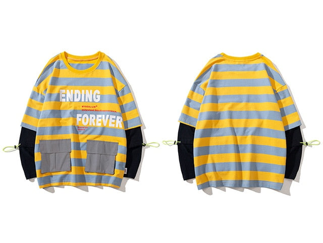 karisland Yellow / XXL Two Pieces Striped Sweatshirts - karisland