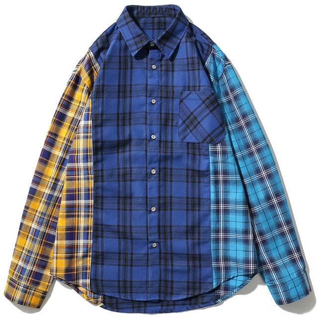 karisland Blue / XL Unisex Plaid Color Patchwork Long Sleeve Shirts - karisland