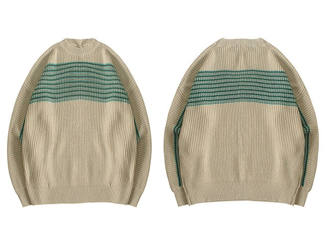 karisland Apricot / L Striped Knitted Men's Sweaters - karisland