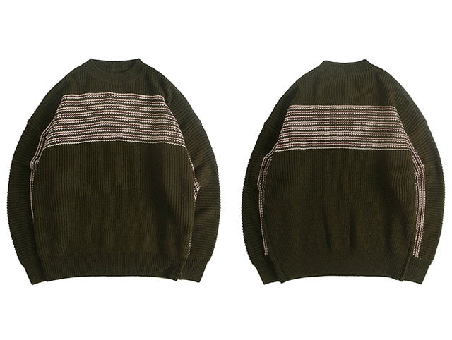 karisland Green / L Striped Knitted Men's Sweaters - karisland